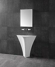 Unbekannt Standwaschbecken TWZ10 aus Mineralguss (Solid Stone) - 86x36x85cm