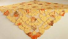 Unbekannt Tischdecke,ca. 110 cm x 110 cm mit ausgestickten Blättern. Mitteldecke passend für viele Tischgrößen.Pflegeleichter Stoff, waschbar, Material 100% Polyester