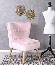 Unbekannt Vintage Sessel Rosa Samt Samtstuhl 50er