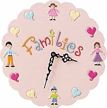 Unbekannt Wanduhr für Kind Stille Kreativität Mode Kindergarten Kinderzimmer Wohnzimmer Schlafzimmer Uhr Runde Modern Einfache Nördliche Dekoration 14 Zoll Durchmesser 32,5 cm UOMUN (Farbe : Pink)