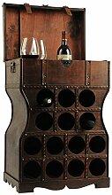 Unbekannt Wein Regal Holz Kiste Metallbeschlag Flaschen Ständer Getränke Schrank rustikal Harms304005