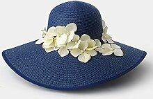 Unbekannt ZHIRONG Schirmhut gewebter Strohhut Blau, Beige, Braun, Weiß, Hellblau, Gelb Handgefärbte Blumen Sonnenschutz UV-Schutz (Farbe : C)