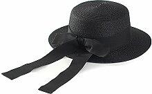 Unbekannt ZHIRONG Visier Hut gewebt Strohhut beige, weiß, schwarz, Schokolade Flat Top Big Bow Sonnenschutz UV-Schutz (Farbe : B)