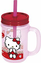 Unbranded 8011698 Tulipa-Hello Kitty Becher mit Strohhalm, Kunststoff, Styrol-Acrylnitril, 45 ml, Ro