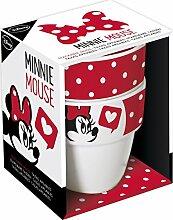 Unbranded 8013671Minnie Fashion Set 2Kaffeebecher stapelbar Minnie Fashion Fassungsvermögen 25cl-8013671Keramik rot 11, 2x 9x 13, 8cm