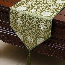 Uncle Sam LI Chinesisches Klassisches Muster Tischläufer Tischdecke Kaffeetisch Tuch Bett Markierungsfahnen Kabinett Markierungsfahnen Abellen Matte, ( farbe : Grün , größe : 33*150cm )