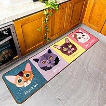 Uncle Sam LI- Einfache niedlichen Cartoon-Katze gestreiften Teppich rutschfeste Badematte, 45 * 150cm