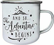 Und So Beginnt Das Abenteuer Retro, Zinn, Emaille