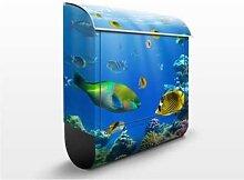 Underwater Lights 39x46x13cm Briefkasten, Standbriefkasten, Briefkästen, Meerestiere, Fische, Wasser, Meer, Korallen