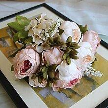 Unechte Blumen Die Europäische Nostalgie 8 Pfingstrose blumenstrauß Hochzeit Zimmer hortensien Pflanzen Blumen, Rosa