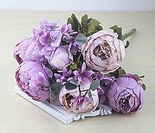 Unechte Blumen Die Europäische Nostalgie 8 Pfingstrose blumenstrauß Hochzeit Zimmer hortensien Pflanzen Blumen, New Purple