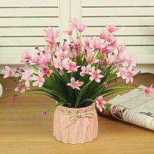 Unechte Blumen Einfache Topfpflanze Anti Wahre Flower Bouquet Hand Büro Nordic Pflanze Kaffee Ornamente Hohe Flasche Mit Nelke, Orchid Pink Und Kreative Pulver Becken