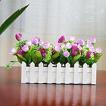 Unechte Blumen Plastikblumen, Silk Flower Bouquet Blumig Suit Zimmer Einrichtung Heimtextilien Simulation Eingefügt Holzzaun Dekoration Dekoration, 30 Cm Kleine Lila Knospe