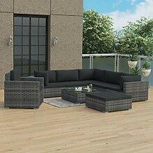 UnfadeMemory Garten-Lounge-Set mit Auflagen Poly
