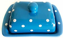 UNGARNIKAT Keramik Butterdose Butterbeälter blau