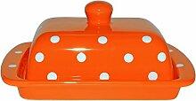 UNGARNIKAT Keramik Butterdose orange mit