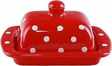 UNGARNIKAT Keramik Butterdose rot mit handbemalten