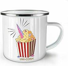 Uni Mais Popcorn Weiß Emaille-Becher 10 oz   Wellcoda