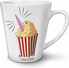 Uni Mais Popcorn Weiß Keramisch Latte Becher 12 oz   Wellcoda
