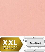 Uni Tapete XXL Vliestapete EDEM 903-16 Geprägte Struktur Textiloptik Unitapete Pastellfarben rosa altrosa 10,65 m2