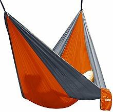 Unigear Hängematte Camping Hammock Camping Hängematte aus Nylon, mit Schlafaugenmaske Augenbinde, gut für Camping, Reisen und outdoor (Double, Orange/Grau)