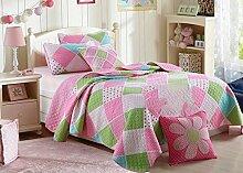 Unimall 3870476 Tagesdecke Baumwolle Patchwork Mädchen Rosa Bettüberwurf Decke Kinderzimmer 170x220 cm plus 1 x Kissenbezug