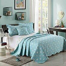 Unimall Tagesdecke türkis weiß Bettüberwurf Sommer Baumwolle zweiseitig pflegeleicht für Doppelbett 230x250cm mit Herzen Muster Blau-Weiß