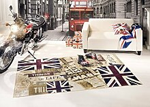 Union Jack Vintage Teppich Singboard UK (160x230 cm)