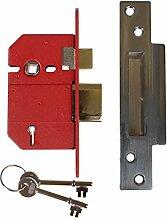 Union Locks Strongbolt 2200S BS5 Einsteckschloss mit Vorreiber und 5Zuhaltungen, 68mm, Oberfläche aus edelmattiertem Chrom