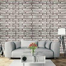 UNIQUEBELLA 3D Steinoptik Tapeten Wanddeko Design Tapete Wandtapete Wand Dekoration für Wohnzimmer Kinderzimmer Schlafzimmer Küchen Hotel Grau