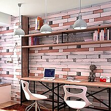 UNIQUEBELLA 3D Steinoptik Tapeten Wanddeko Design Tapete Wandtapete Wand Dekoration für Wohnzimmer Kinderzimmer Schlafzimmer Küchen Hotel Holzimitatstein