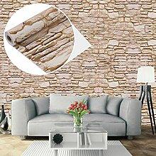 UNIQUEBELLA 3D Steinoptik Tapeten Wanddeko Design Tapete Wandtapete Wand Dekoration für Wohnzimmer Kinderzimmer Schlafzimmer Küchen Hotel Beige