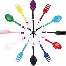 UNIQUEBELLA Besteck Uhr Besteckuhr Küchenuhr Wanduhr Analoger Uhr Metall D 33 cm in Bun