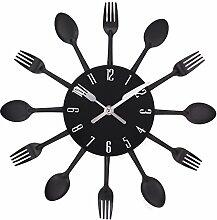 UNIQUEBELLA Besteck Uhr Besteckuhr Küchenuhr Wanduhr Analoger Uhr Metall D 33 cm in Schwarz