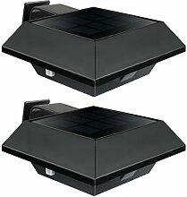 Uniquefire Schwarz Solarlampe 6 LEDs Dachrinnen