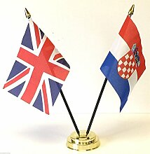 United Kingdom & Kroatien Double Freundschaft Tisch Flagge + Button Se