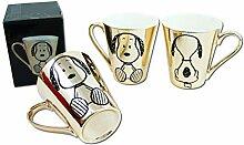United Labels 3 x Peanuts Snoopy Tasse EDEL Gold