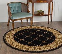 Universal Teppiche Bordüre Traditionelle, runde Accent Bereich Teppich, schwarz 160cm/6f
