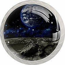 Universe Schubladenknauf, rund, Glas, 4 Stück,