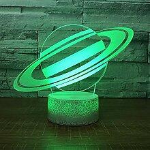 Universum Saturn Nachtlicht Lampe 3D Sky Planet