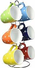 Uniware Porzellanbecher mit Edelstahlständer und