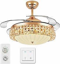 Unsichtbarer Deckenventilator beleuchtet Gaststätte-Ventilator-Licht-Wohnzimmer-Schlafzimmer-moderner Ventilator beleuchtet Kristallventilator-Leuchter-Qualität, die verdunkelt verdoppeln Kontrolle 42 Zoll Xuan - worth having