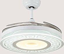 Unsichtbarer Deckenventilator beleuchtet Ventilator beleuchtet Wohnzimmer-Esszimmer-Schlafzimmer-Haus Moderner minimalistischer LED Ventilator-Leuchter-intelligente Doppelfarbe, 42 Zoll, 36W Xuan - worth having ( Farbe : Wall Control )