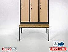 Unterbau-Garderoben- und Umkleidebank (42 cm x 90 xm x 80 cm, schwarz RAL 9005 pulverbeschichtet)