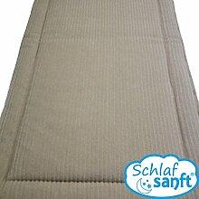 Unterbett Bettauflage Schafwolle Merino-Wolle Schurwolle Matratzen-Auflage mit Füllung (beige, 200x200)