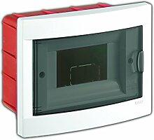 Unterputz Kleinverteiler 6 Module / Sicherungskasten / Verteilerkasten Unterputz IP40, 1-reihig mit Hutschiene + 1 stk. Klemme