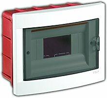 Unterputz Kleinverteiler 8 Module / Sicherungskasten / Verteilerkasten Unterputz IP40, 1-reihig mit Hutschiene + 1 stk. Klemme