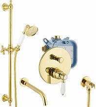 Unterputz Set Gold Badewannen-Armatur mit