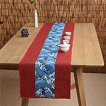 Unterschrift Baumwolle Tischläufer buddhistischen Stimmung Tee Tisch Kissen ethnischen Stil Tabelle Flagge Bett Läufer rot und blau Spindrift ( größe : 35*400cm )