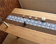 Unterschrift Baumwolle Tischläufer buddhistischen Stimmung Tee Tisch Kissen ethnischen Stil Tabelle Flagge Bett Läufer rot Karpfen blau Blume ( Farbe : A , größe : 35*220cm )
